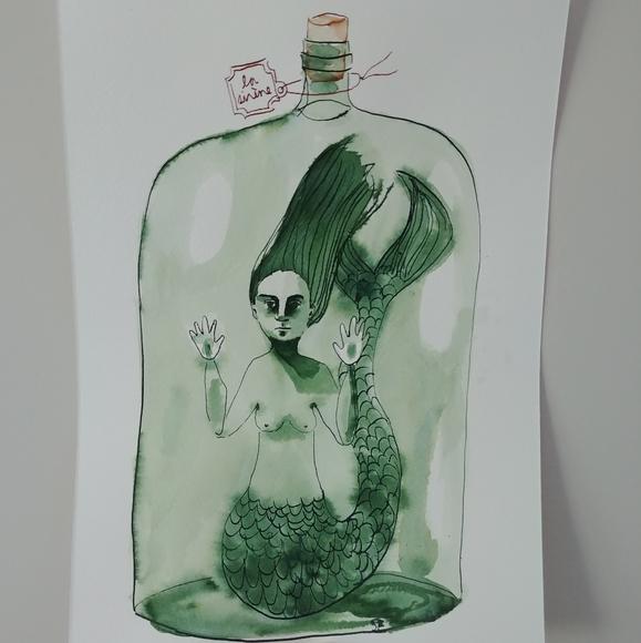 3/$30 - mermaid in jar ink painting